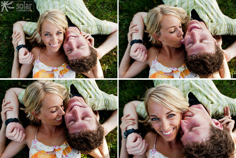 Cute couple portraits in the grass.