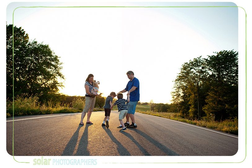Family fun on a country road.
