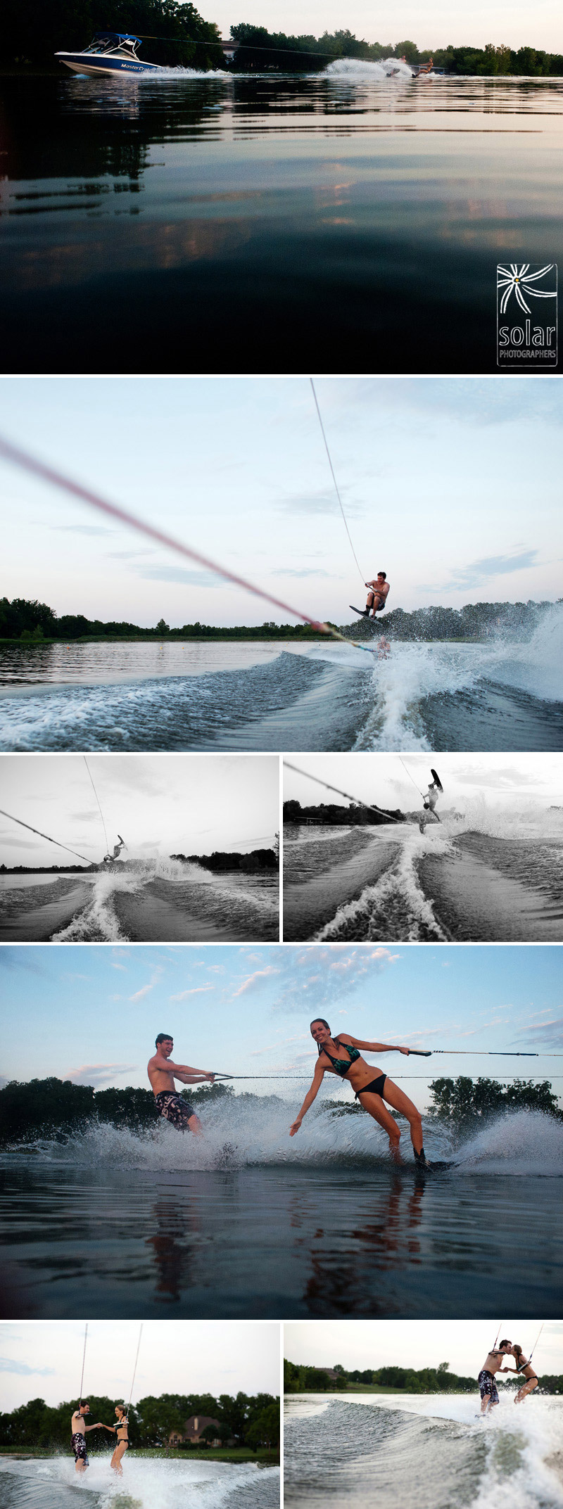 Super fun water skiing engagement pictures in Kansas City.