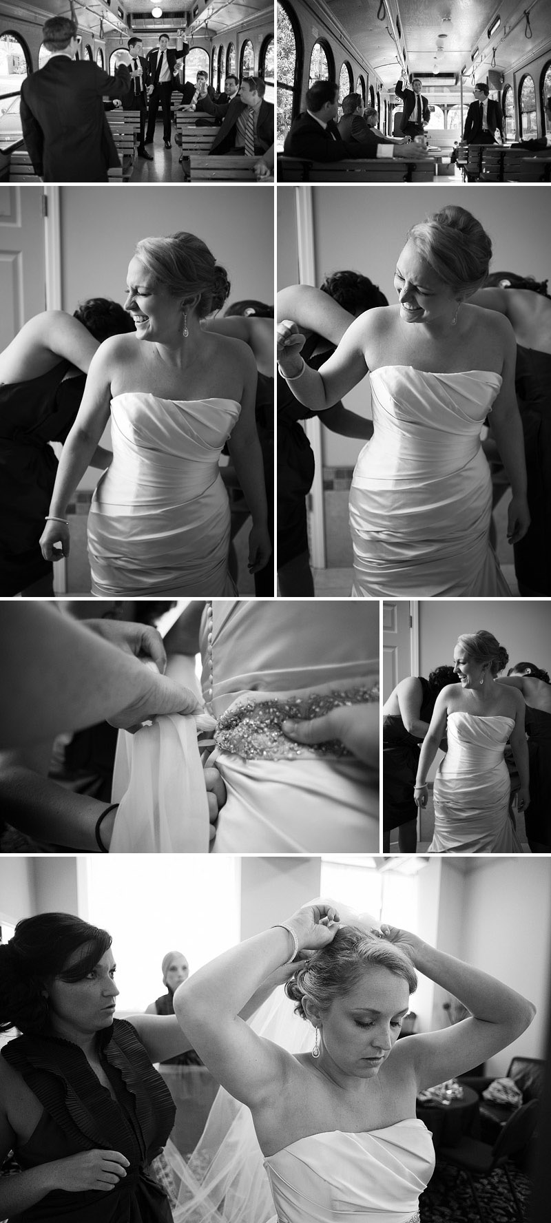 bride putting her wedding dress on.