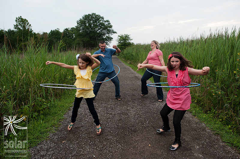 Fun family hula hooping.