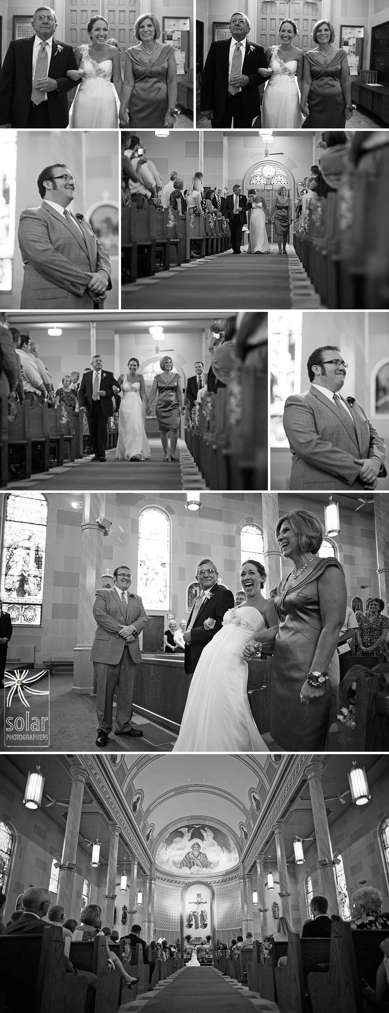 Emotional walk down the aisle by the bride.