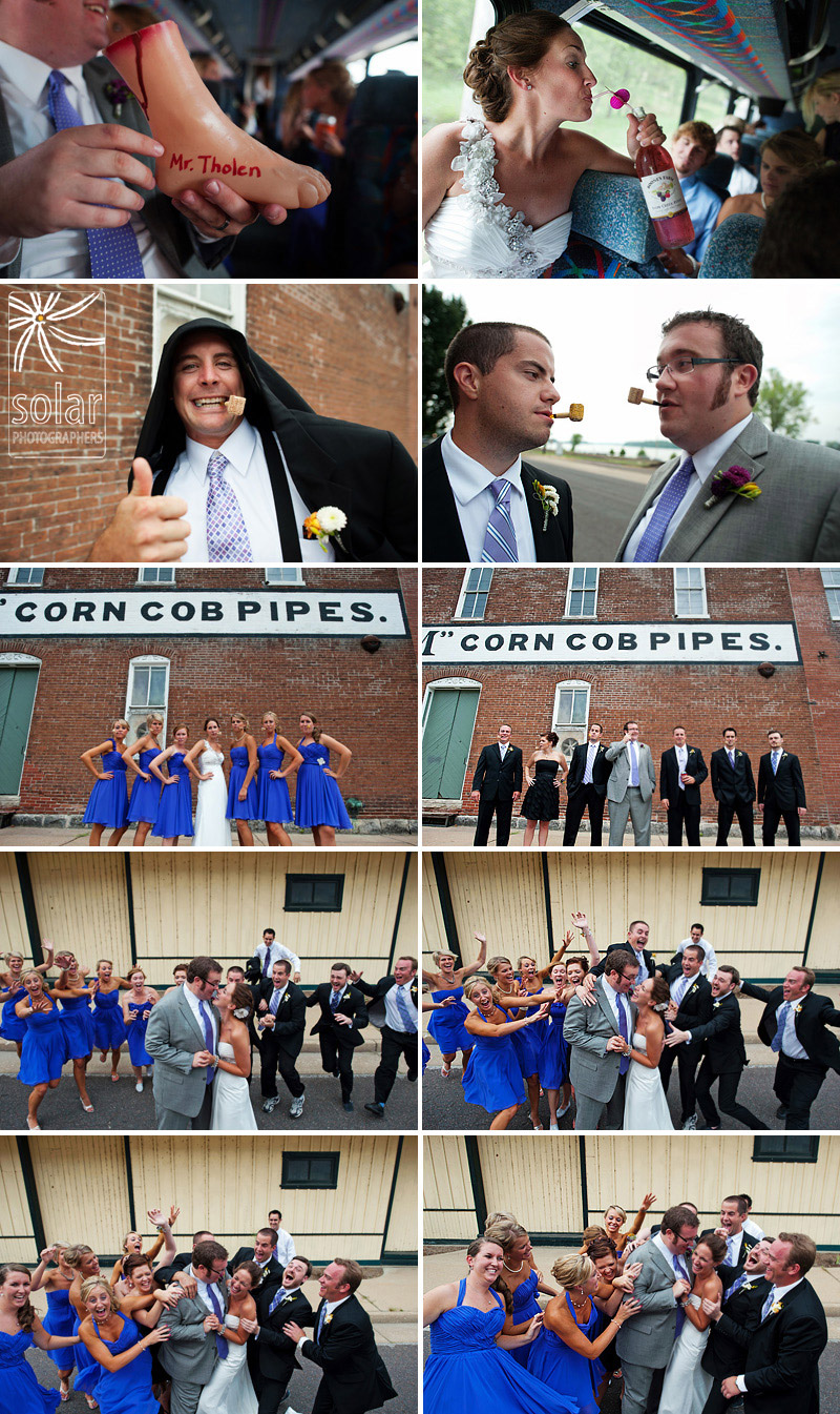 Fun with corn cob pipes and sweet bridal party pictures.