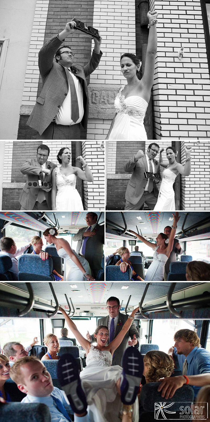 Say Anything wedding tribute and fun on a bus.