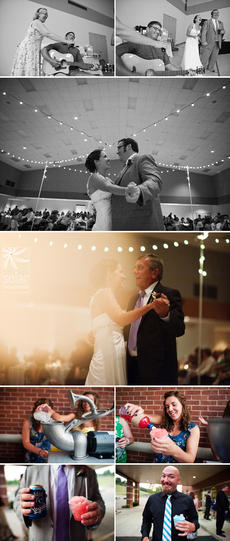 Sweet first dances at a wedding and sno cones.