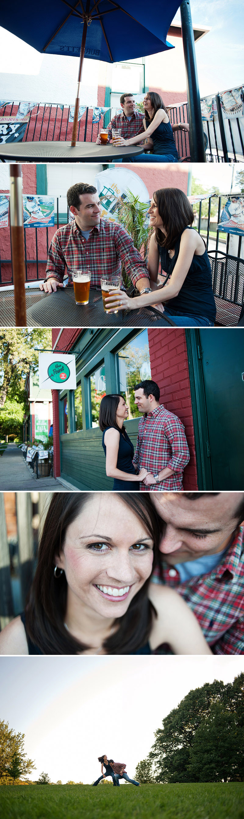 Fun engagement pictures at the Point in Kansas City.