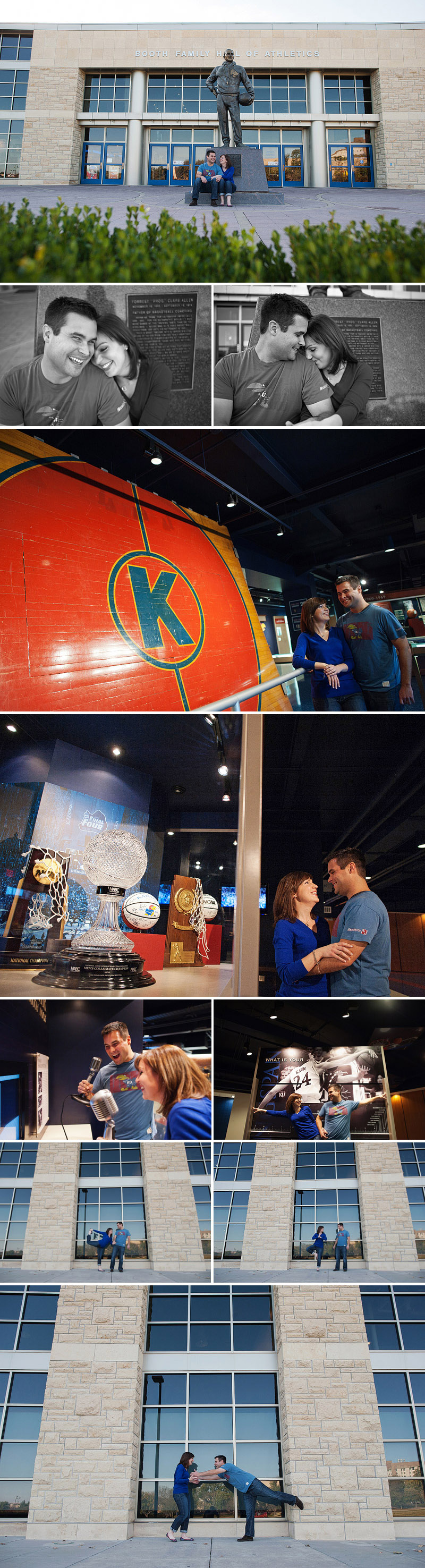 Engagement pictures at Allen Fieldhouse in Lawrence, Kansas.