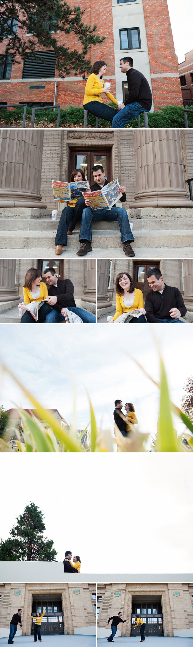 Fun engagement photos on KU campus in Lawrence.