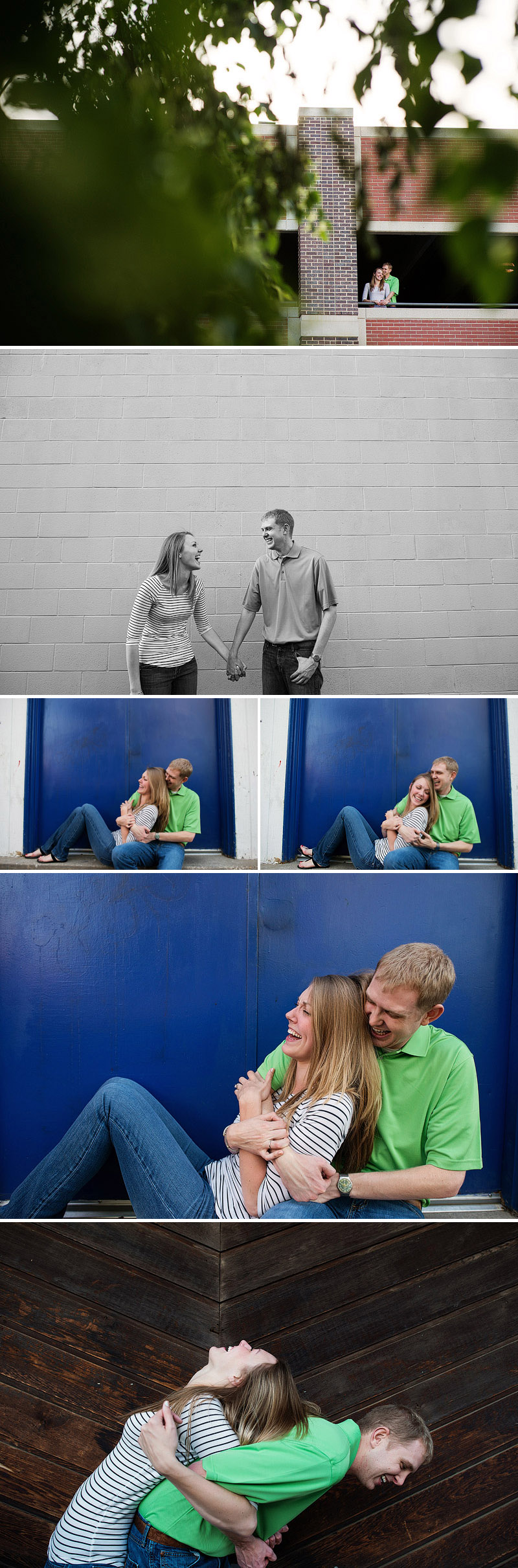 Cute engagement pictures on Mass Street in Lawrence