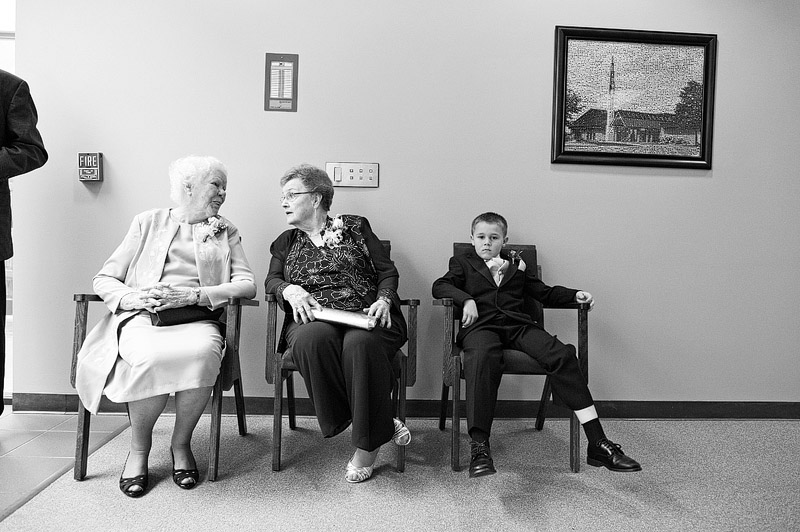 Grandmas waiting for the wedding to start.