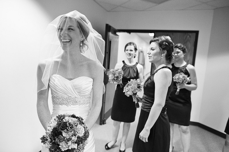 Candid moment before a Kansas City wedding ceremony.