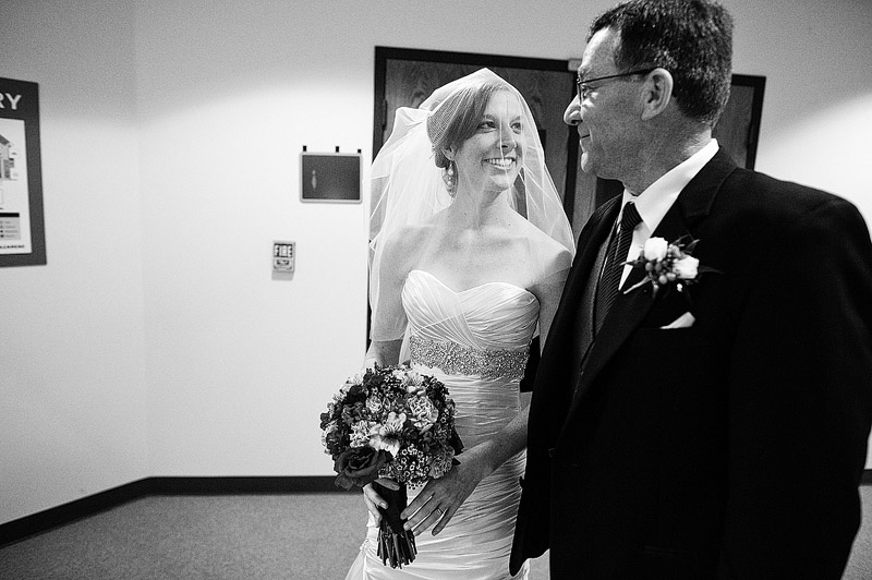 Bride with her dad before he walks her down the aisle.