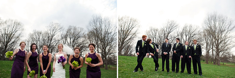 Fun bridesmaids and groomsmen portraits.
