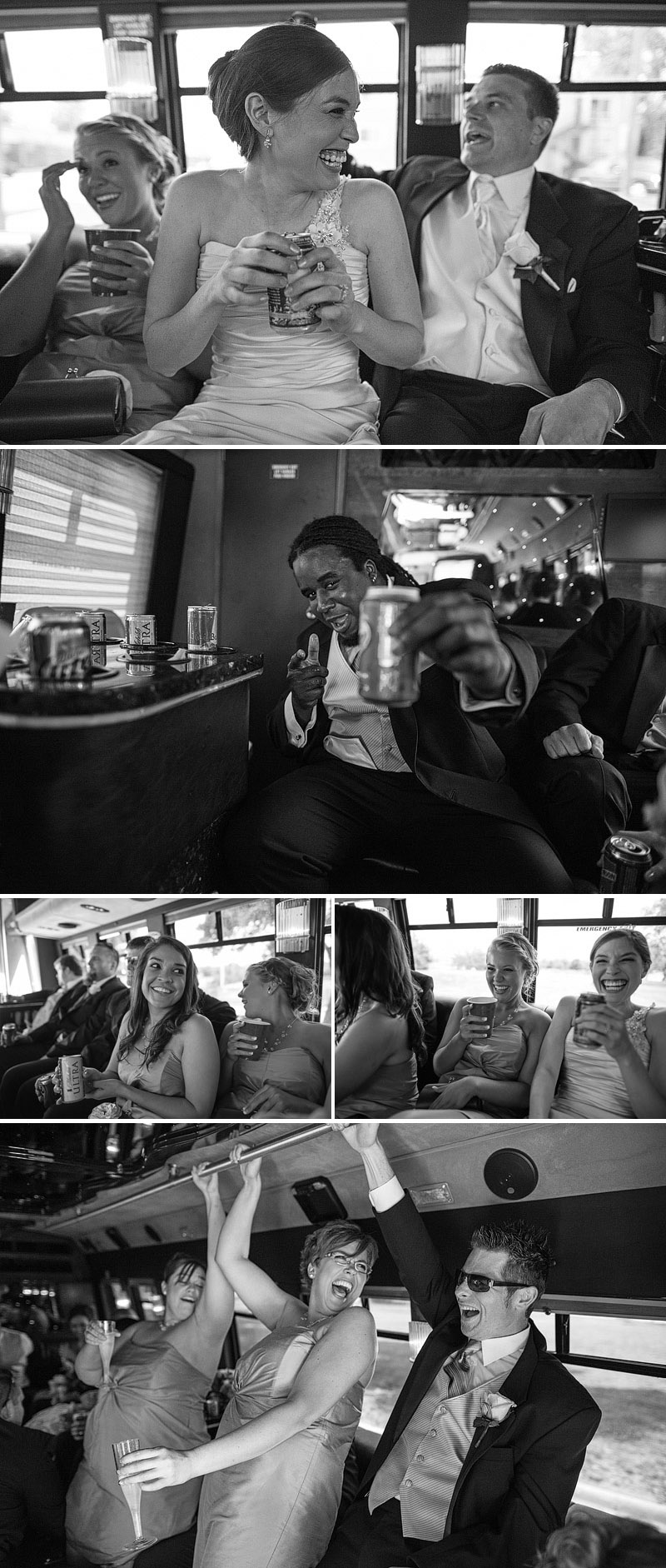 Fun party bus pictures at a Topeka wedding.