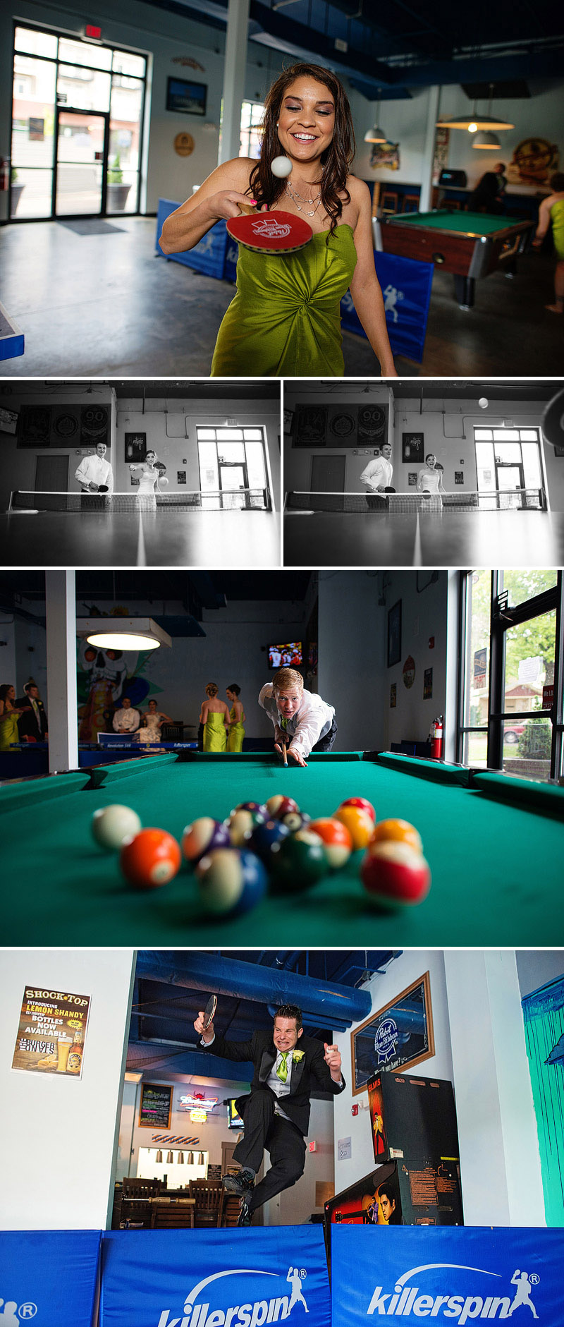 Ping pong and pool on a wedding day.