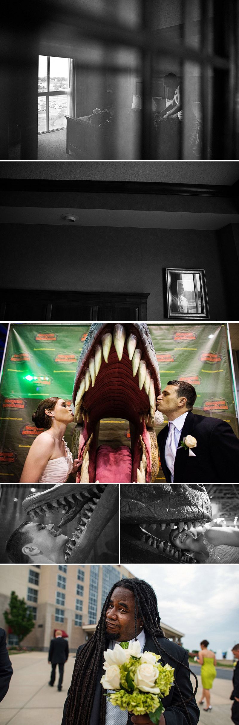Candid wedding photography and dinosaur portraits.