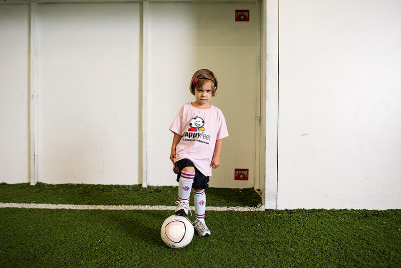 Little girl ready for soccer.
