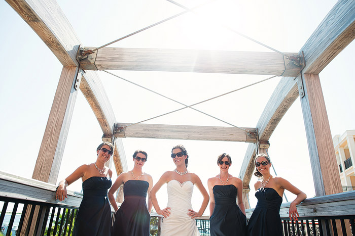 Fun bridesmaid shot in Destin Florida at the Harbor Walk.