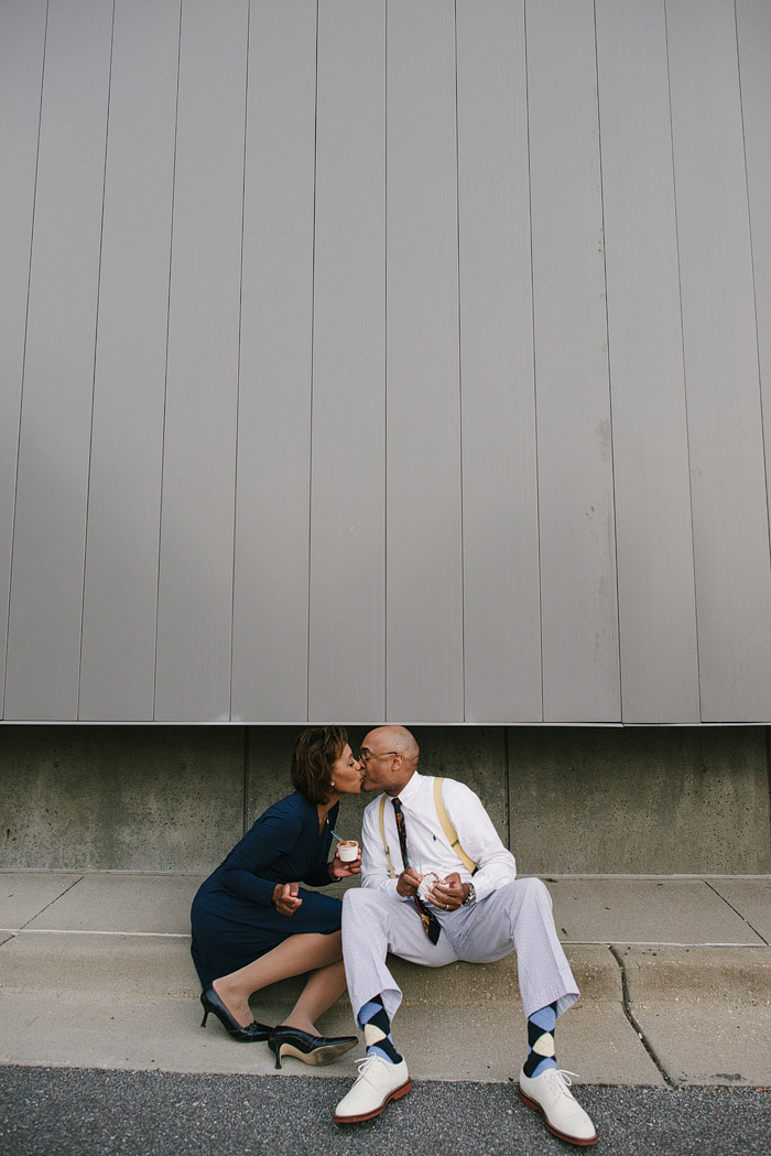 Couple kissing over Glace ice cream in Kansas City.