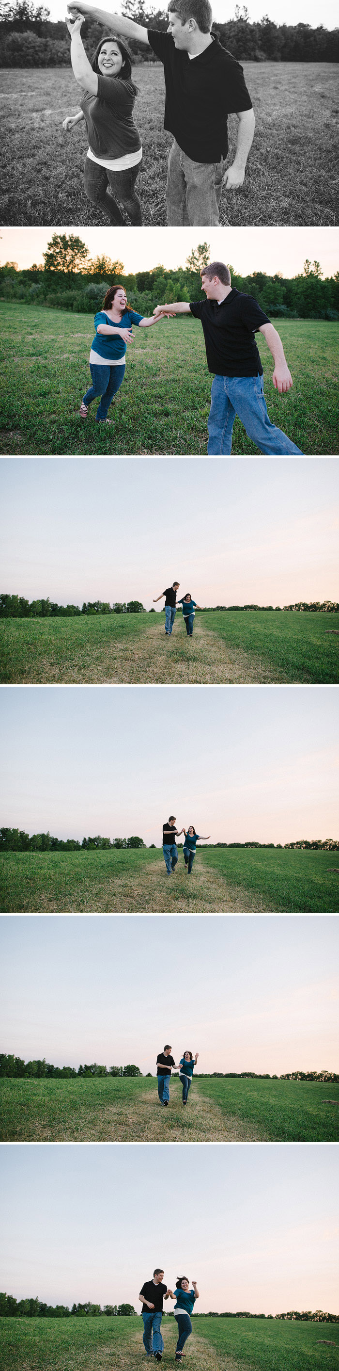 Couple dancing in a field.