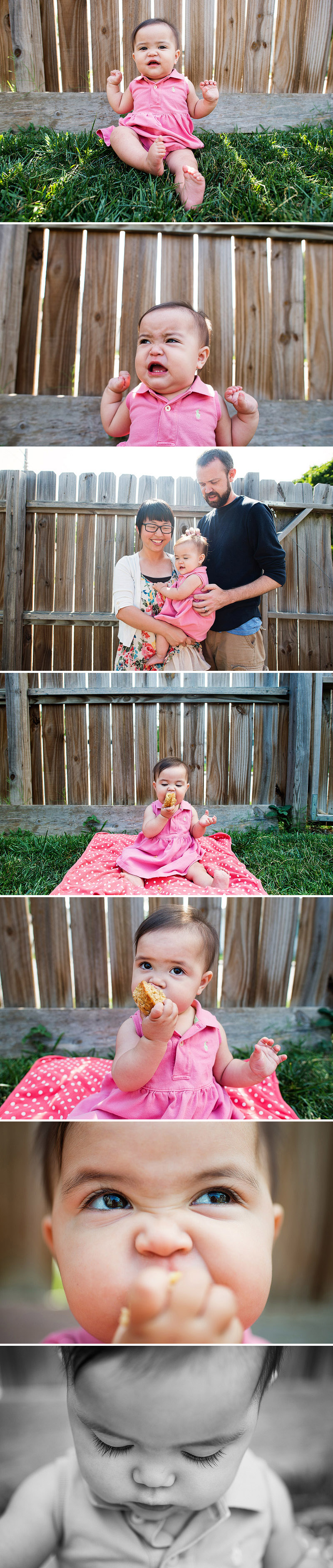 Baby eating a muffin and loving it.