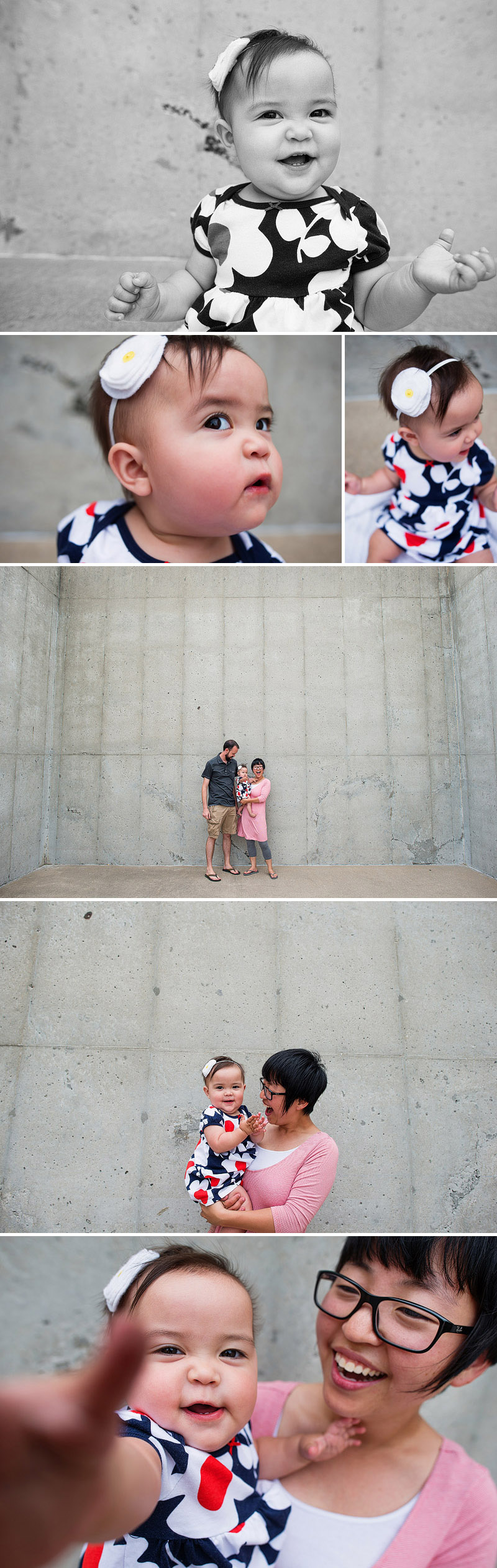 Fun family portraits on a handball court in North Kansas City.