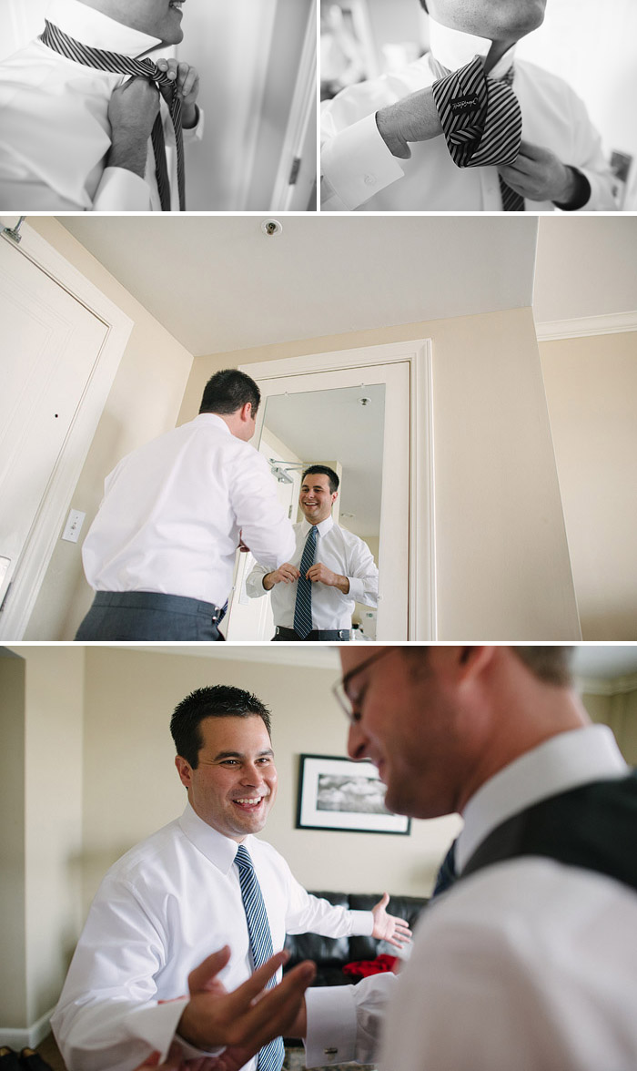 Groom getting ready for his wedding in Lawrence.