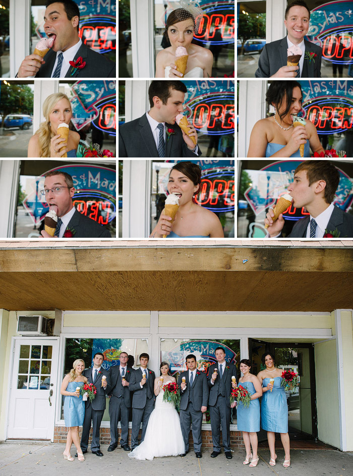 Sylas and Maddie's ice cream wedding photos.