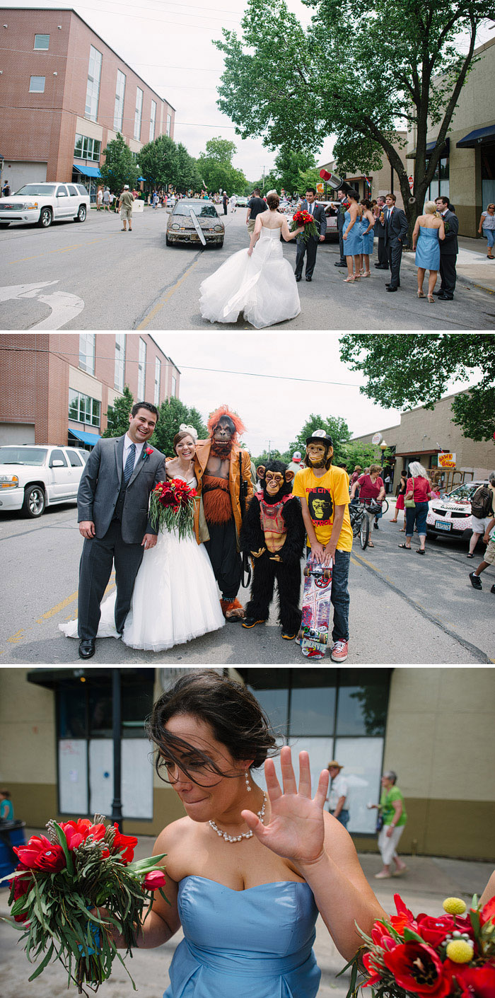 Fun wedding photos on Mass St. in Lawrence.