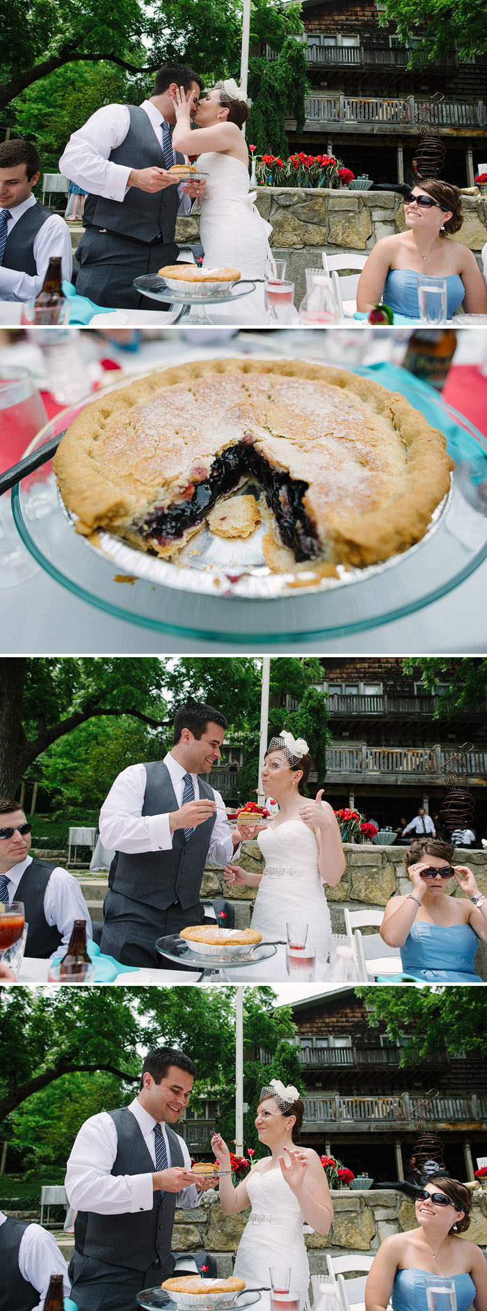 Pie cutting instead of wedding cake.
