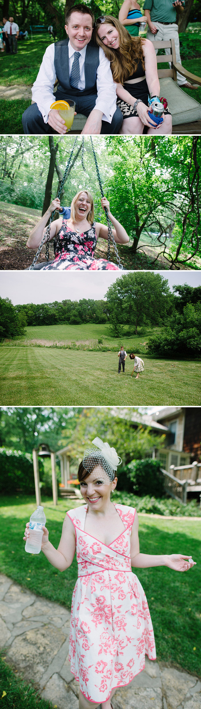 Lawn games at an outdoor wedding reception.