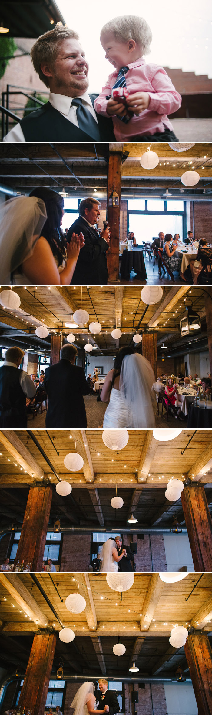 Beautiful wedding reception at the Hobbs Building in Kansas City.