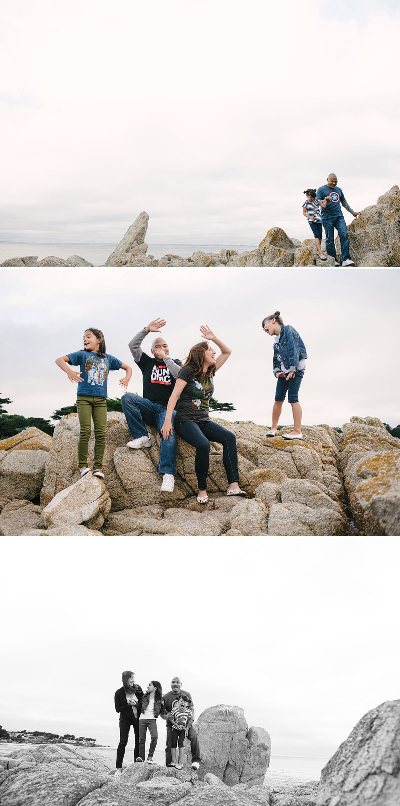 Family having fun in Lover's Point, Pacific Grove, California.