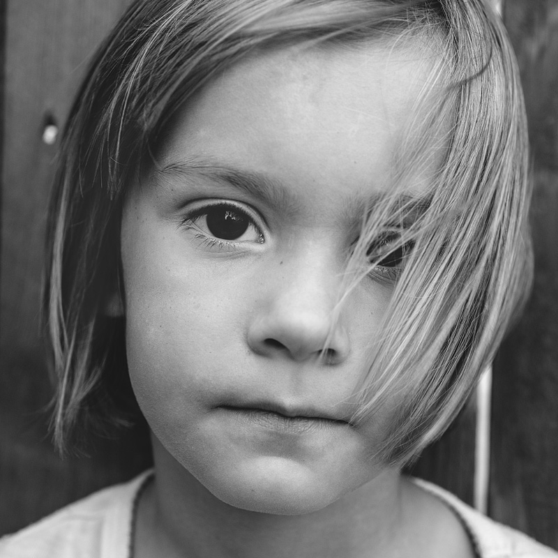 Black and white portrait of a 4 year old girl.