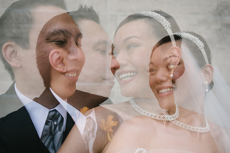 Bride and groom double exposure portrait in Kansas City.