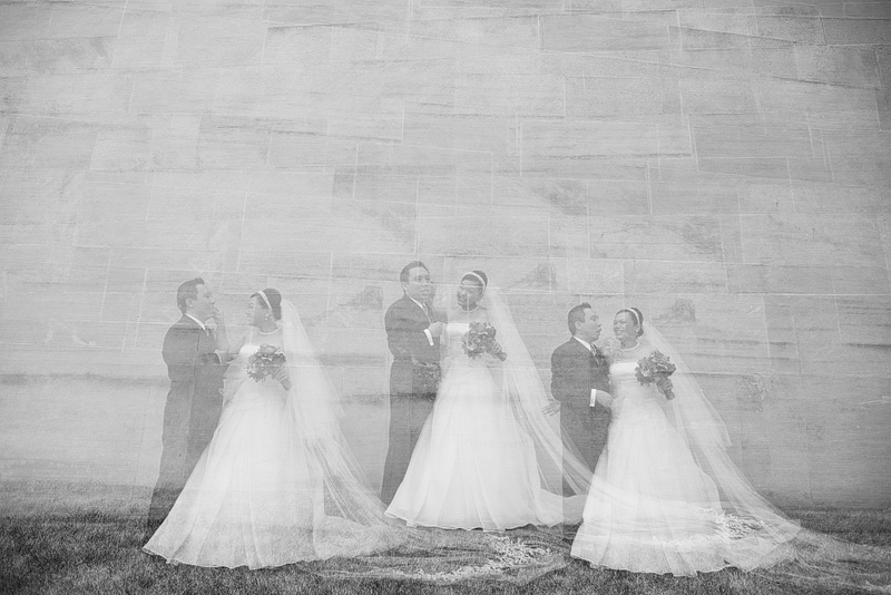 Triple exposure bride and groom portrait.