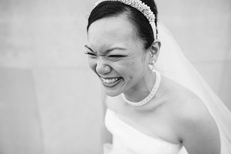 Laughing bride in Kansas City.