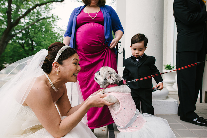 Bride with her dogs on her wedding day in Kansas City.