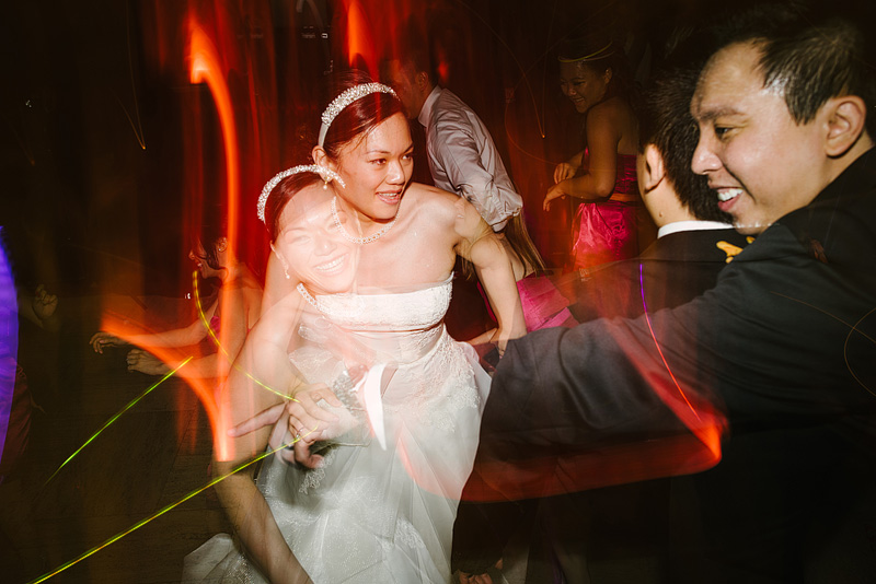 Double exposure wedding reception photography.