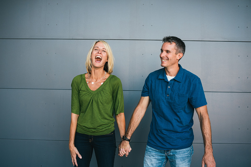 Laughing couple in Kansas City.