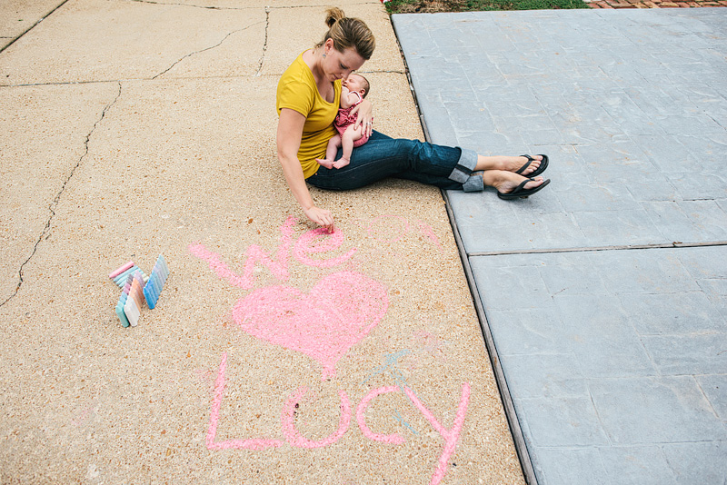 St. Louis portrait photography with sidewalk chalk.