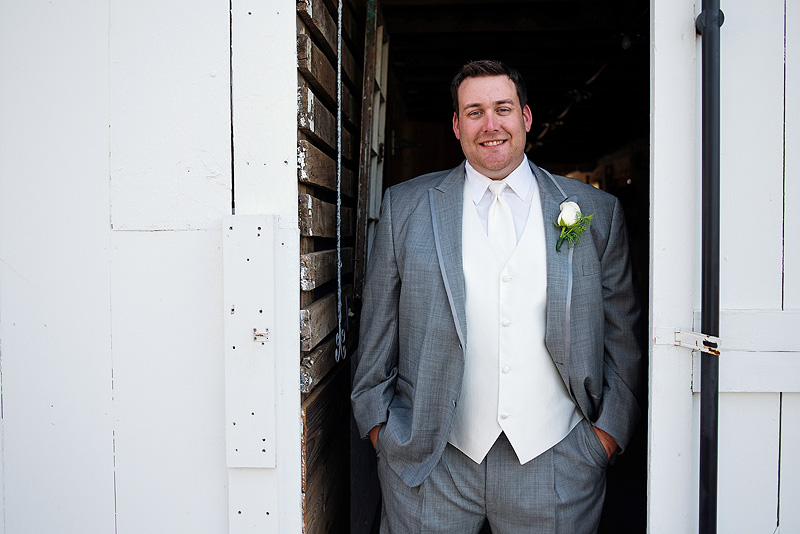 Sweet groom portrait in Kansas City at Fresh Air Farms.