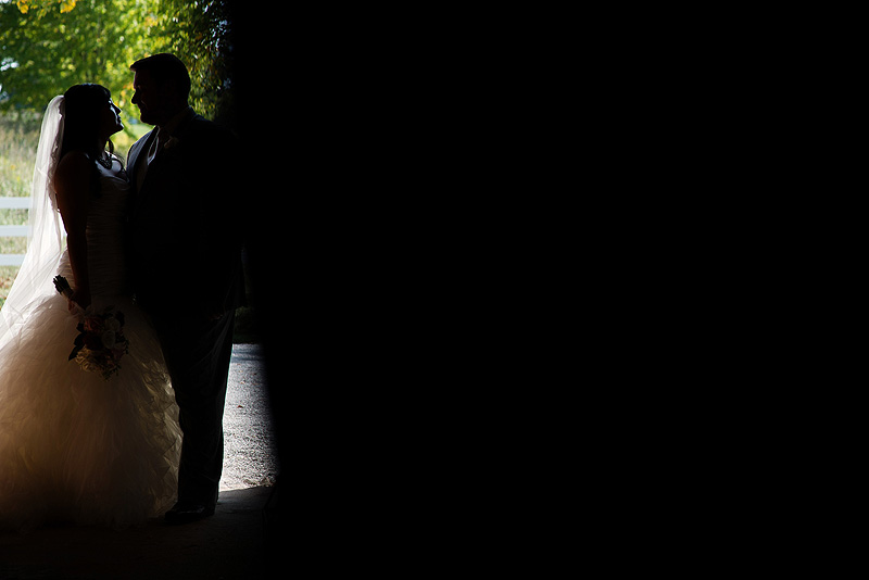 Beautiful bride and groom silhouette at Fresh Air Farms.