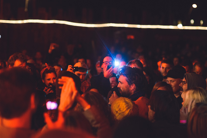 Alex Ebert in the crowd during the Edward Sharpe concert at Crossroads in Kansas City.