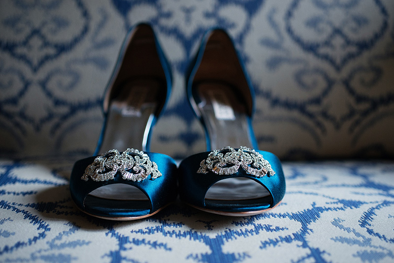Beautiful blue wedding shoes.
