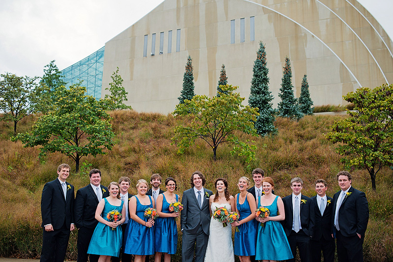 Fun bridal party picture in downtown Kansas City.