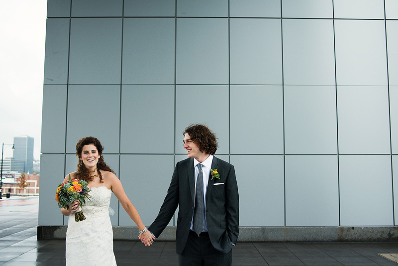 Cute bride and groom portraits in downtown Kansas City.