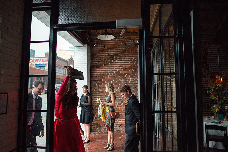 Rainy wedding at the Guild in Kansas City.
