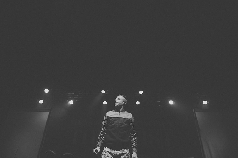 Sick black and white portrait of Macklemore in Omaha, Nebraska.