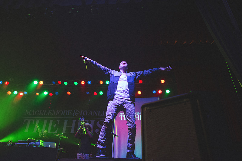 Macklemore on a speaker performing in Omaha, Nebraska.
